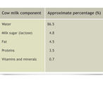 A table showing the components in cow's milk.