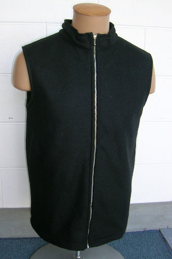 AgResearch's prototype vest made from their new stab and flame-resistant fabric, which looks and feels like normal jacket fabric.