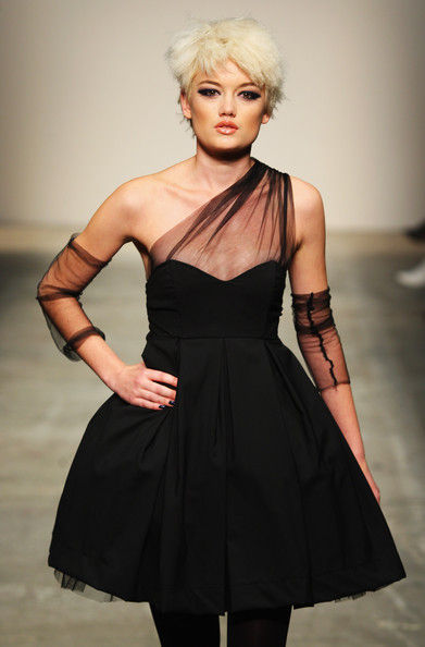 An evening dress designed by New Zealand fashion designer Sera Lilly using NEC wool fabric, modelled at New Zealand Fashion Week 2008.